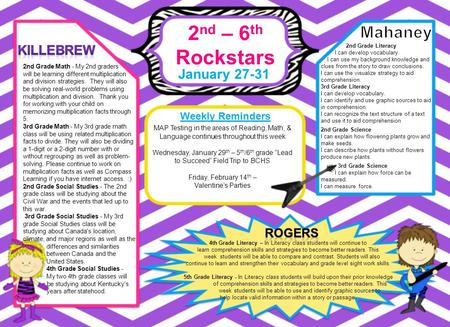 2 nd – 6 th Rockstars January 27-31 Weekly Reminders 4th Grade Literacy – In Literacy class students will continue to learn comprehension skills and strategies.