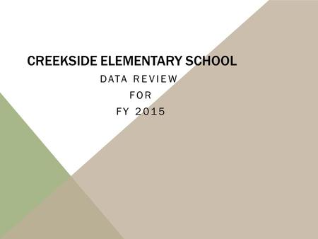 CREEKSIDE ELEMENTARY SCHOOL DATA REVIEW FOR FY 2015.