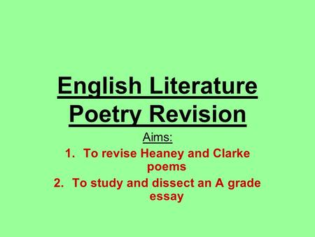 English Literature Poetry Revision