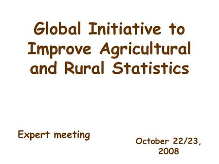 Global Initiative to Improve Agricultural and Rural Statistics October 22/23, 2008 Expert meeting.