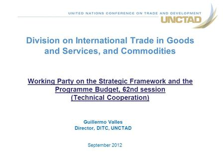 Division on International Trade in Goods and Services, and Commodities Working Party on the Strategic Framework and the Programme Budget, 62nd session.