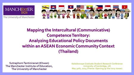 Sutraphorn Tantiniranat (Khwan) The Manchester Institute of Education, The University of Manchester Mapping the Intercultural (Communicative) Competence.