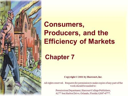 Consumers, Producers, and the Efficiency of Markets Chapter 7 Copyright © 2001 by Harcourt, Inc. All rights reserved. Requests for permission to make copies.