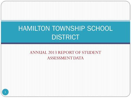 ANNUAL 2013 REPORT OF STUDENT ASSESSMENT DATA HAMILTON TOWNSHIP SCHOOL DISTRICT 1.