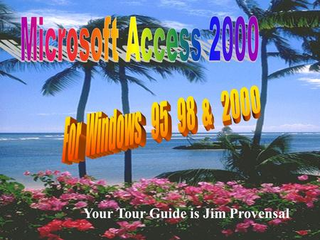 "Your Tour Guide is Jim Provensal. What We Will Cover s Introduction to MicroSoft Access u What is a database u What is a ""Relational"" Database s The Major."