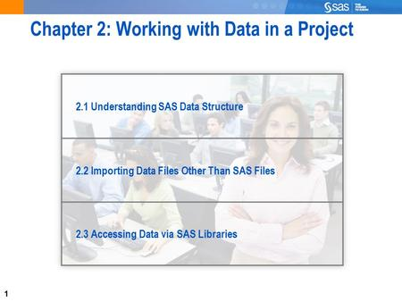1 Chapter 2: Working with Data in a Project 2.1 Understanding SAS Data Structure 2.2 Importing Data Files Other Than SAS Files 2.3 Accessing Data via SAS.