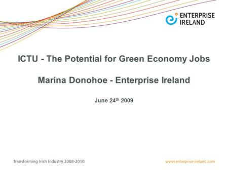 ICTU - The Potential for Green Economy Jobs Marina Donohoe - Enterprise Ireland June 24 th 2009.