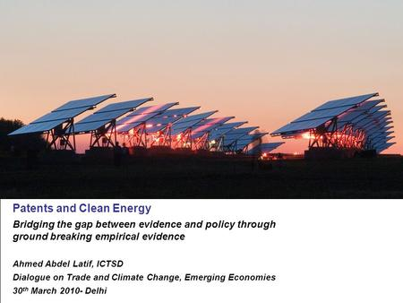 XX.XX.2009 Patents and Clean Energy: Bridging the gap between evidence and policy Seite 1 Patents and Clean Energy Bridging the gap between evidence and.