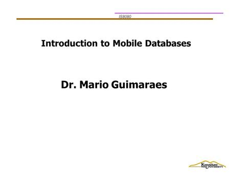 IS8080 Introduction to Mobile Databases Dr. Mario Guimaraes.