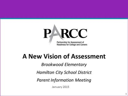 A New Vision of Assessment Brookwood Elementary Hamilton City School District Parent Information Meeting 1 January 2015.