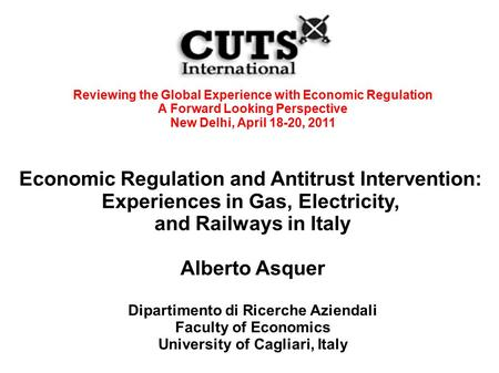 Reviewing the Global Experience with Economic Regulation A Forward Looking Perspective New Delhi, April 18-20, 2011 Economic Regulation and Antitrust Intervention: