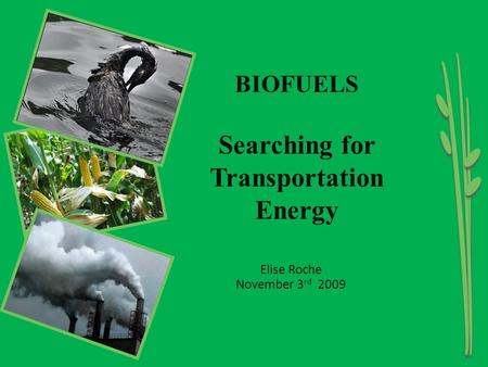 Elise Roche November 3 rd 2009 BIOFUELS Searching for Transportation Energy.