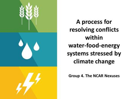 A process for resolving conflicts within water-food-energy systems stressed by climate change Group 4. The NCAR Nexuses.