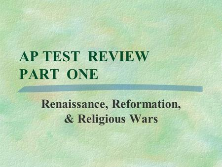 the depth of religious and political reformations brought by the reformation during the renaissance Opinions differ as to what specifically the european renaissance brought to  reformation during the renaissance the  religious and political reformations.