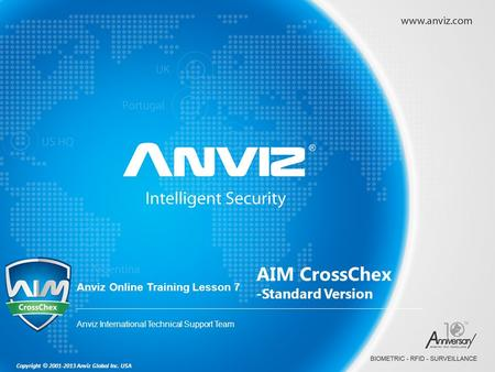 Copyright © 2001-2013 Anviz Global Inc. USA Anviz Online Training Lesson 7 Anviz International Technical Support Team AIM CrossChex -Standard Version.