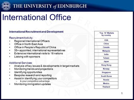 1 International Office International Recruitment and Development Recruitment Activity: Regional International Officers Office in North East Asia Office.