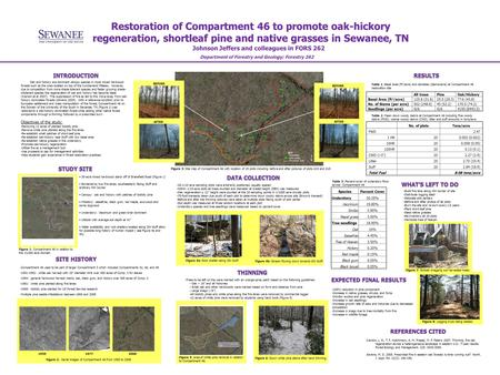 Restoration of Compartment 46 to promote oak-hickory regeneration, shortleaf pine and native grasses in Sewanee, TN Johnson Jeffers and colleagues in FORS.