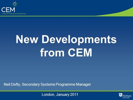 Neil Defty, Secondary Systems Programme Manager New Developments from CEM London, January 2011.