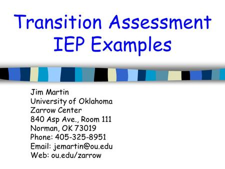 Transition Assessment IEP Examples