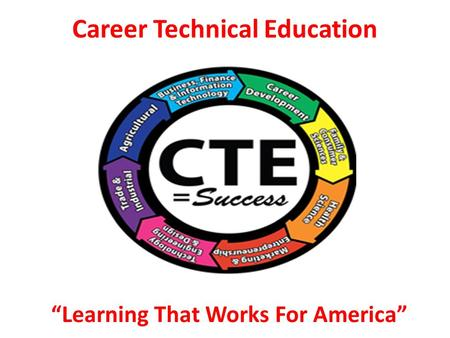 "Career Technical Education ""Learning That Works For America"""