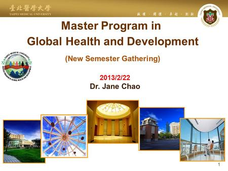 Master Program in Global Health and Development (New Semester Gathering) 1 2013/2/22 Dr. Jane Chao.