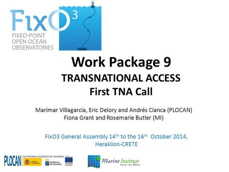 Work Package 9 TRANSNATIONAL ACCESS First TNA Call FixO3 General Assembly 14 th to the 16 th October 2014, Heraklion-CRETE Marimar Villagarcía, Eric Delory.