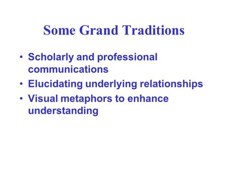 Some Grand Traditions Scholarly and professional communications Elucidating underlying relationships Visual metaphors to enhance understanding.