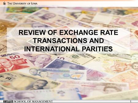 1 REVIEW OF EXCHANGE RATE TRANSACTIONS AND INTERNATIONAL PARITIES.