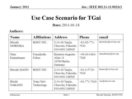 Doc.: IEEE 802.11-11/0023r2 Submission January 2011 Hitoshi Morioka, ROOT INC.Slide 1 Use Case Scenario for TGai Date: 2011-01-18 Authors: NameAffiliationsAddressPhoneemail.