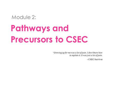 "Pathways and Precursors to CSEC Module 2: ""Growing up for me was a lot of pain. I don't know how to explain it. It was just a lot of pain. - CSEC Survivor."