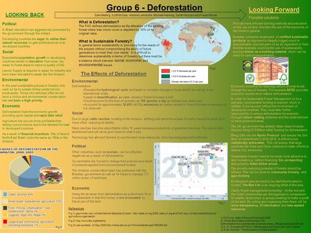 Group 6 - Deforestation LOOKING BACK What is Deforestation? The FAO defines deforestation as the alteration of the existing forest where tree crown cover.