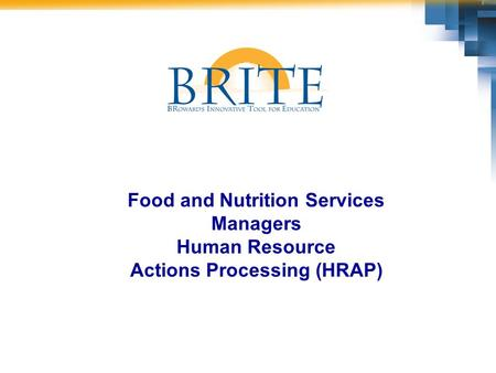Food and Nutrition Services Managers Human Resource Actions Processing (HRAP)