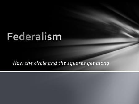 How the circle and the squares get along. Federalism Federalist #51 Delegated powers Reserved powers Concurrent powers Prohibited powers Elastic clause.