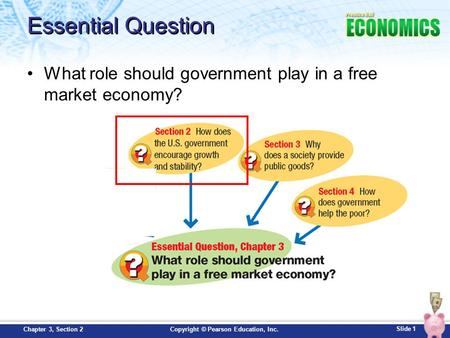 Slide 1 Copyright © Pearson Education, Inc.Chapter 3, Section 2 Essential Question What role should government play in a free market economy?
