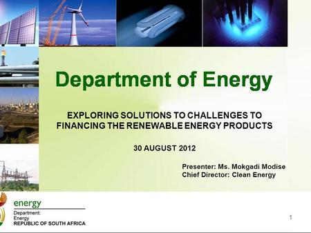 1 EXPLORING SOLUTIONS TO CHALLENGES TO FINANCING THE RENEWABLE ENERGY PRODUCTS 30 AUGUST 2012 Presenter: Ms. Mokgadi Modise Chief Director: Clean Energy.