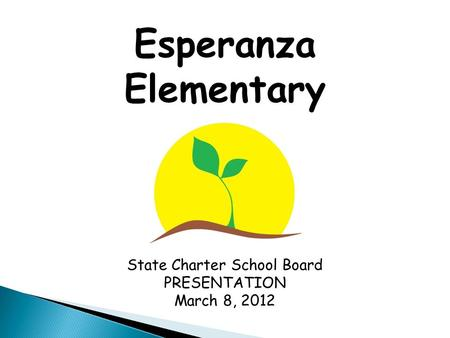 Esperanza Elementary State Charter School Board PRESENTATION March 8, 2012.