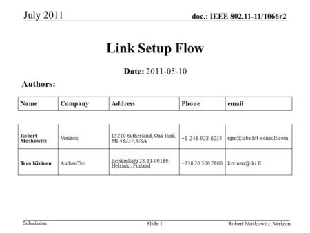 Doc.: IEEE 802.11-11/1066r2 Submission July 2011 Robert Moskowitz, VerizonSlide 1 Link Setup Flow Date: 2011-05-10 Authors: NameCompanyAddressPhoneemail.