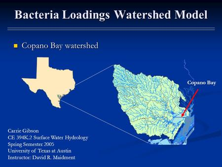 Bacteria Loadings Watershed Model Copano Bay watershed Copano Bay watershed Copano Bay Carrie Gibson CE 394K.2 Surface Water Hydrology Spring Semester.