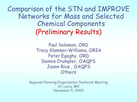 Comparison of the STN and IMPROVE Networks for Mass and Selected Chemical Components (Preliminary Results) Paul Solomon, ORD Tracy Klamser-Williams, ORIA.
