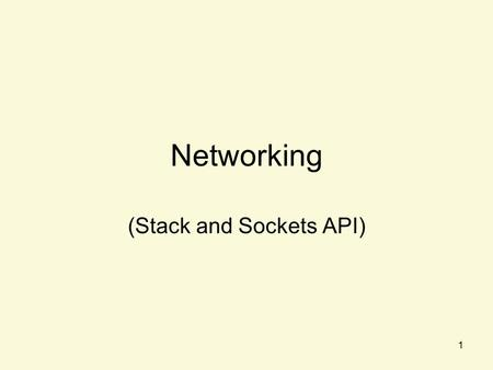 1 Networking (Stack and Sockets API). 2 Topic Overview Introduction –Protocol Models –Linux Kernel Support TCP/IP Sockets –Usage –Attributes –Example.