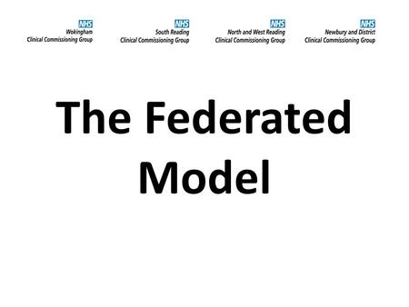 The Federated Model. Myth busting The 4 CCGs have chosen to work together in a federated model The Federation does not exist as a separate body The CCGs.