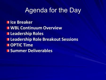 Agenda for the Day Ice Breaker WBL Continuum Overview Leadership Roles
