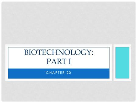 CHAPTER 20 BIOTECHNOLOGY: PART I. BIOTECHNOLOGY Biotechnology – the manipulation of organisms or their components to make useful products Biotechnology.