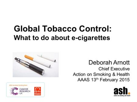 Global Tobacco Control: What to do about e-cigarettes
