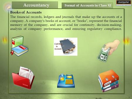 Format of Accounts in Class XI