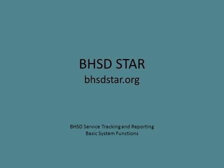 BHSD Service Tracking and Reporting Basic System Functions