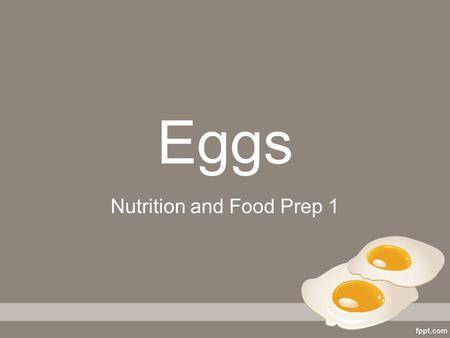 Nutrition and Food Prep 1