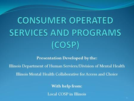 Presentation Developed by the: Illinois Department of Human Services/Division of Mental Health Illinois Mental Health Collaborative for Access and Choice.