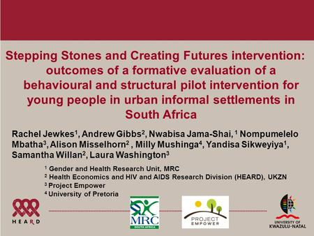 Stepping Stones and Creating Futures intervention: outcomes of a formative evaluation of a behavioural and structural pilot intervention for young people.