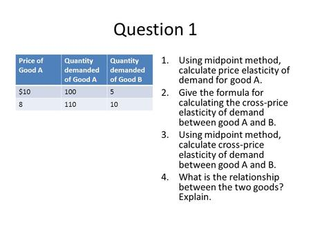 Question 1 Price of Good A Quantity demanded of Good A